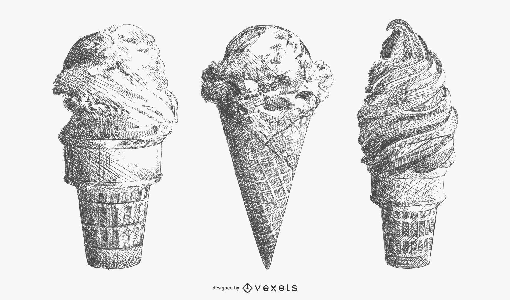 Hand drawn ice cream set
