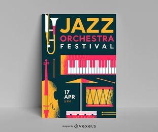 Plantilla de póster del festival de orquesta de jazz