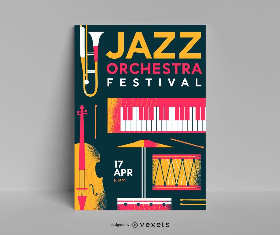 Plantilla de cartel de festival de orquesta de jazz