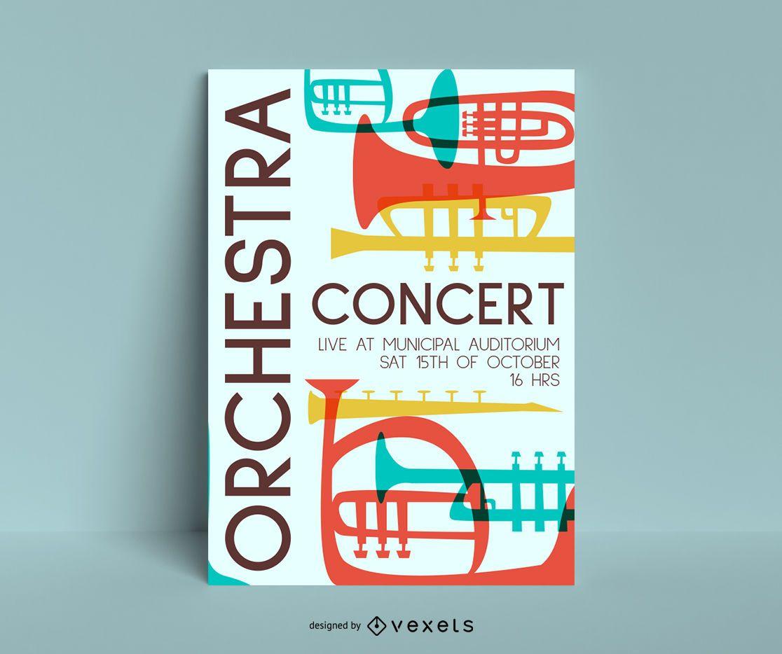 modelo de pôster de concerto de orquestra