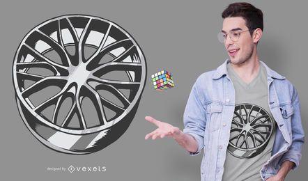 Diseño de camiseta de llanta de coche