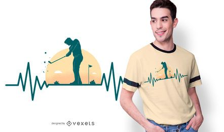 Golf Hearbeat T-shirt Design