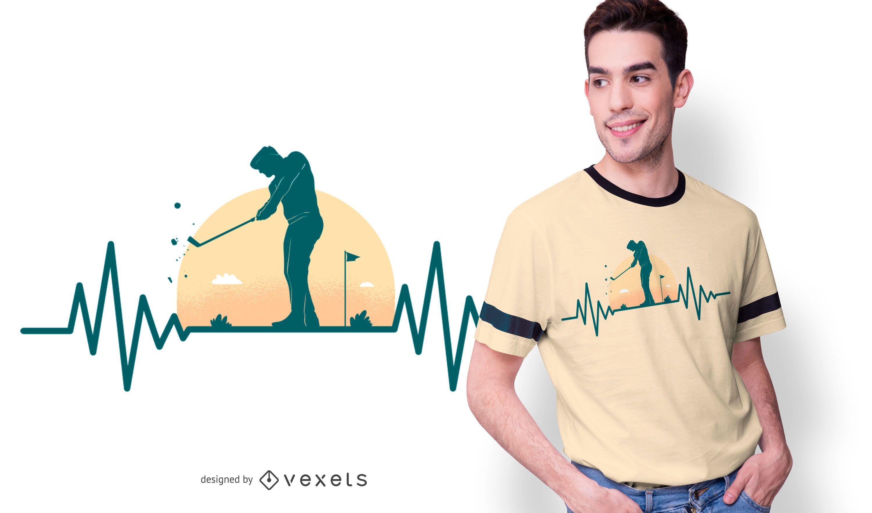 Golf Hearbeat T-shirt Design