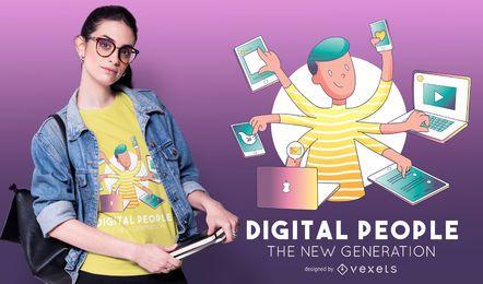 Diseño de camiseta de personas digitales