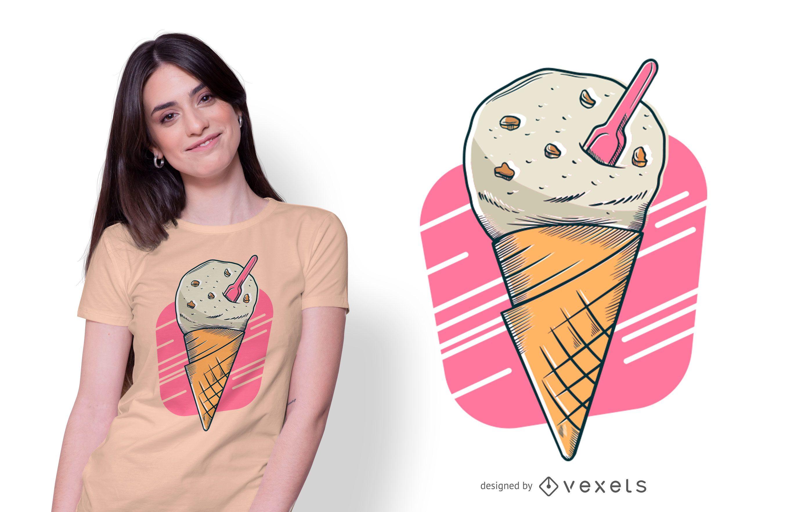 Design de camisetas de sorvete de biscoitos