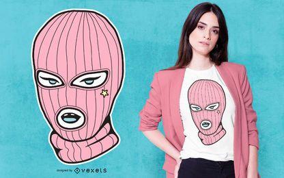 Diseño de camiseta de máscara de esquí rosa