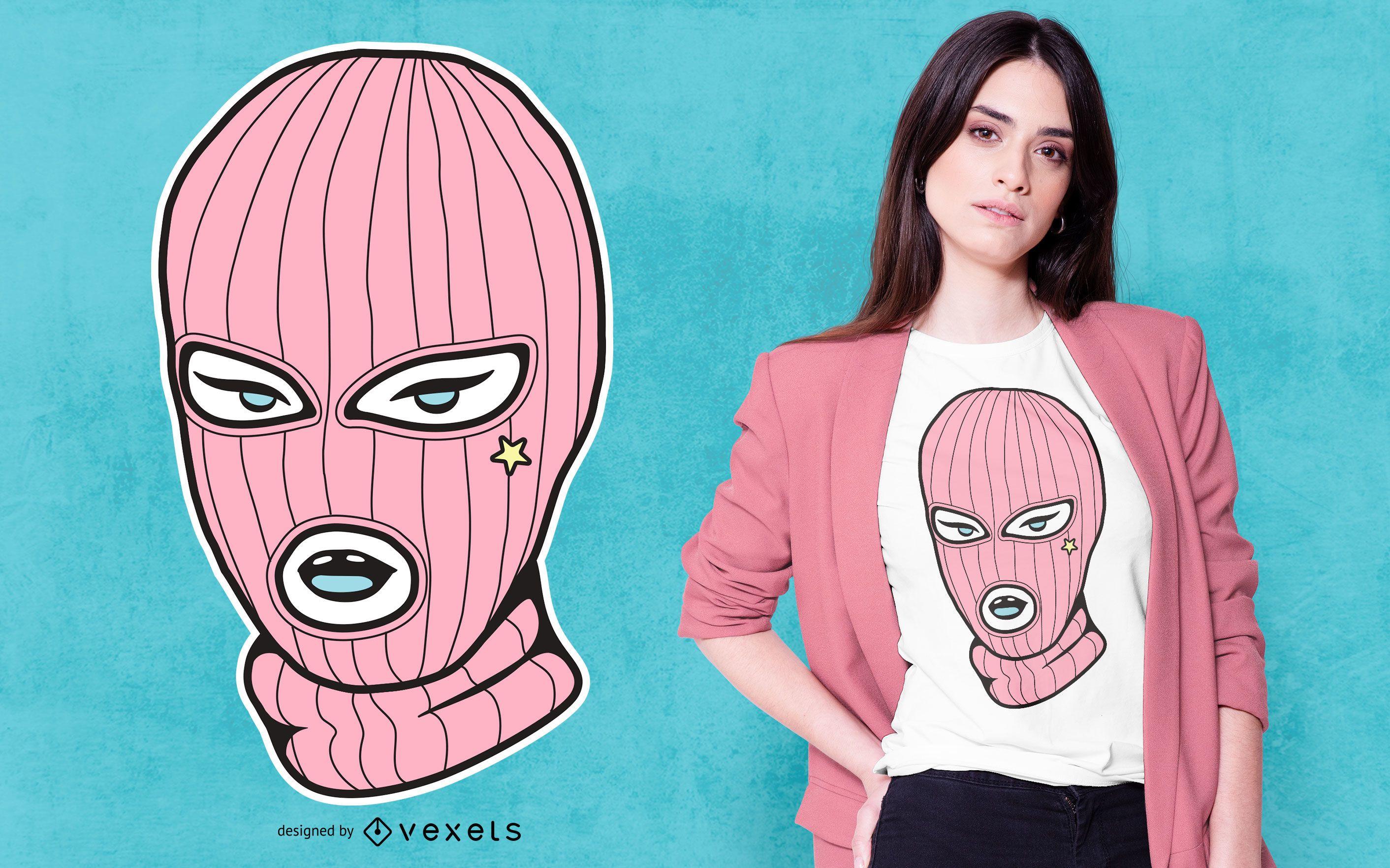 Design de camiseta rosa para máscara de esqui