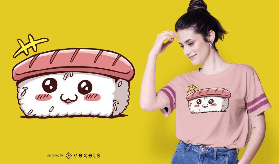 Design de t-shirt de sushi kawaii