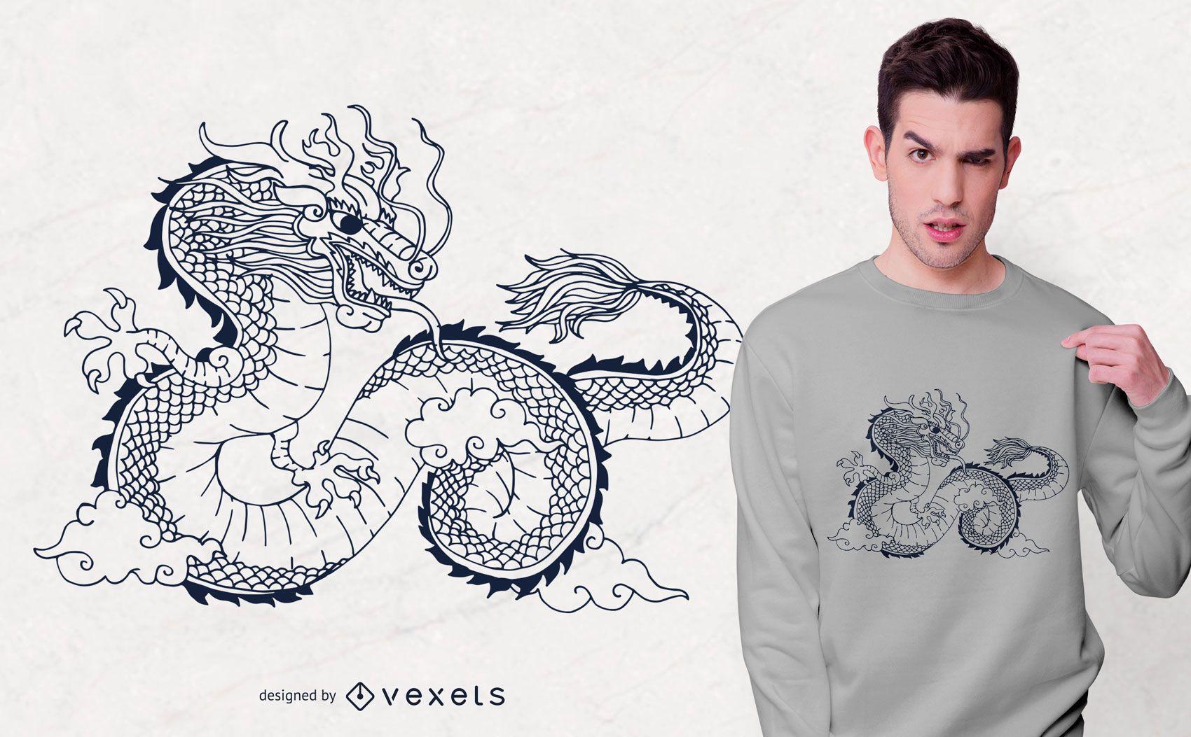 Diseño de camiseta con ilustración de dragón chino