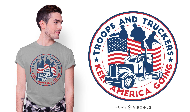 Diseño de camiseta American Truckers