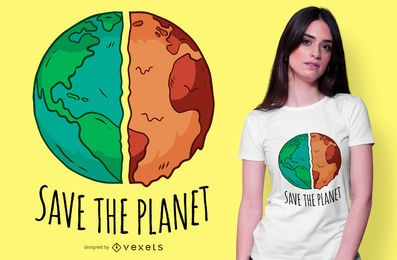 Salvar o design do t-shirt do planeta