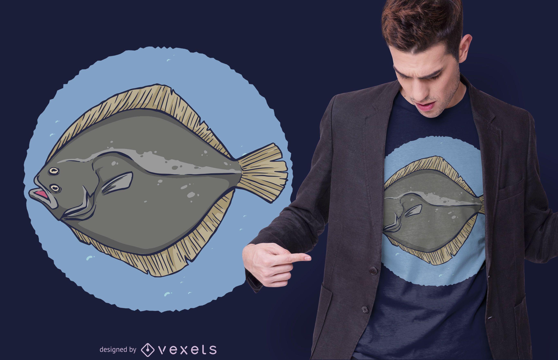 Diseño de camiseta Plaice Fish