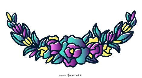 Ilustración colorida de la guirnalda floral