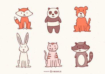 Conjunto de animais ilustrados fofos