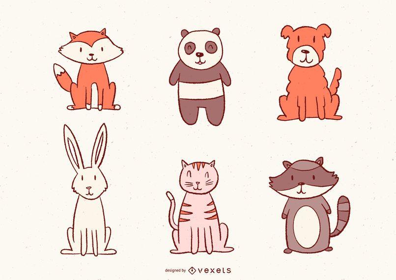 Cute Illustrated Animals Set