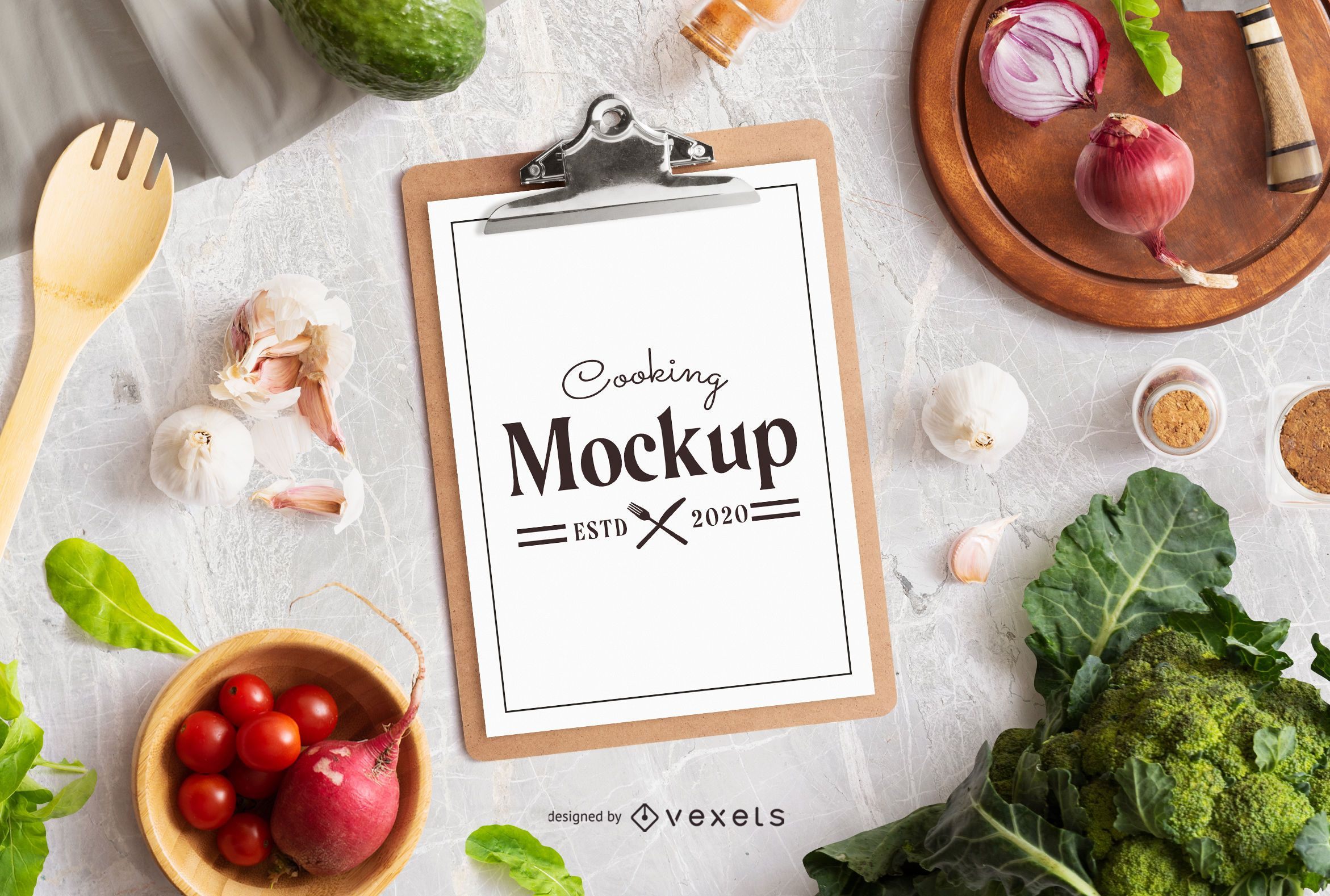 Cooking clipboard mockup composition