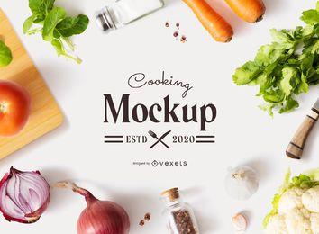 Maquete de logotipo de composição de cozinha