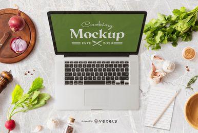 Composição de maquete de laptop de cozinha