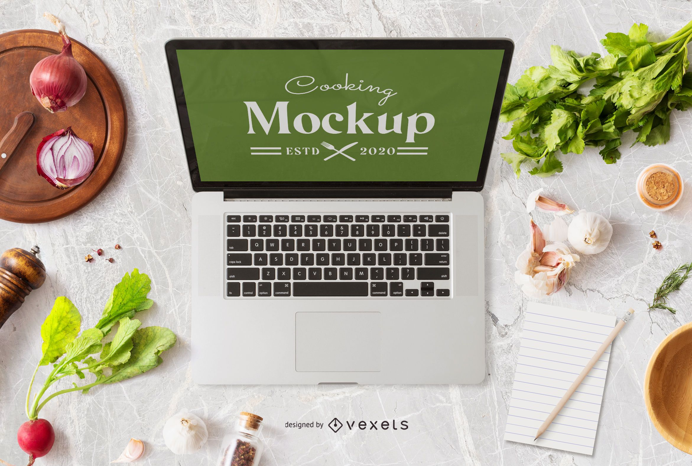 Cooking laptop mockup composition