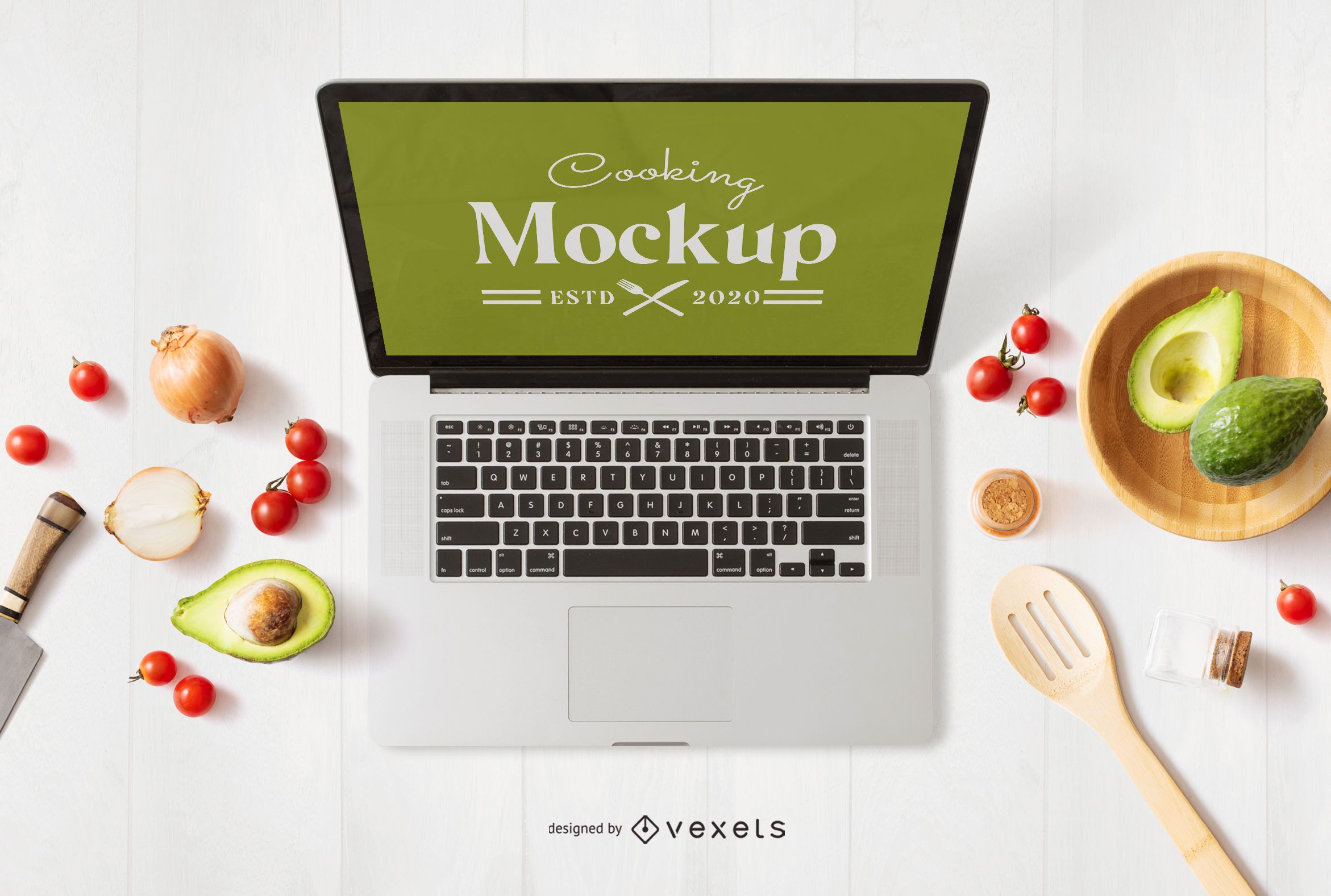 Cooking computer mockup composition