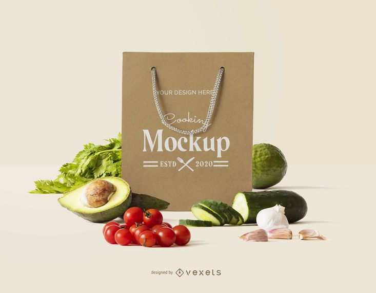 Brown Bag Food Composition Mockup