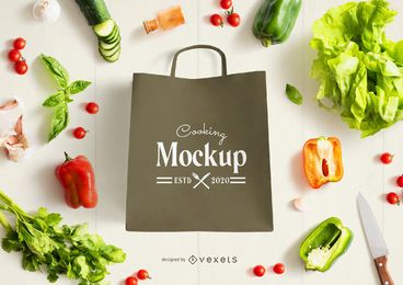 Bag vegetables mockup composition