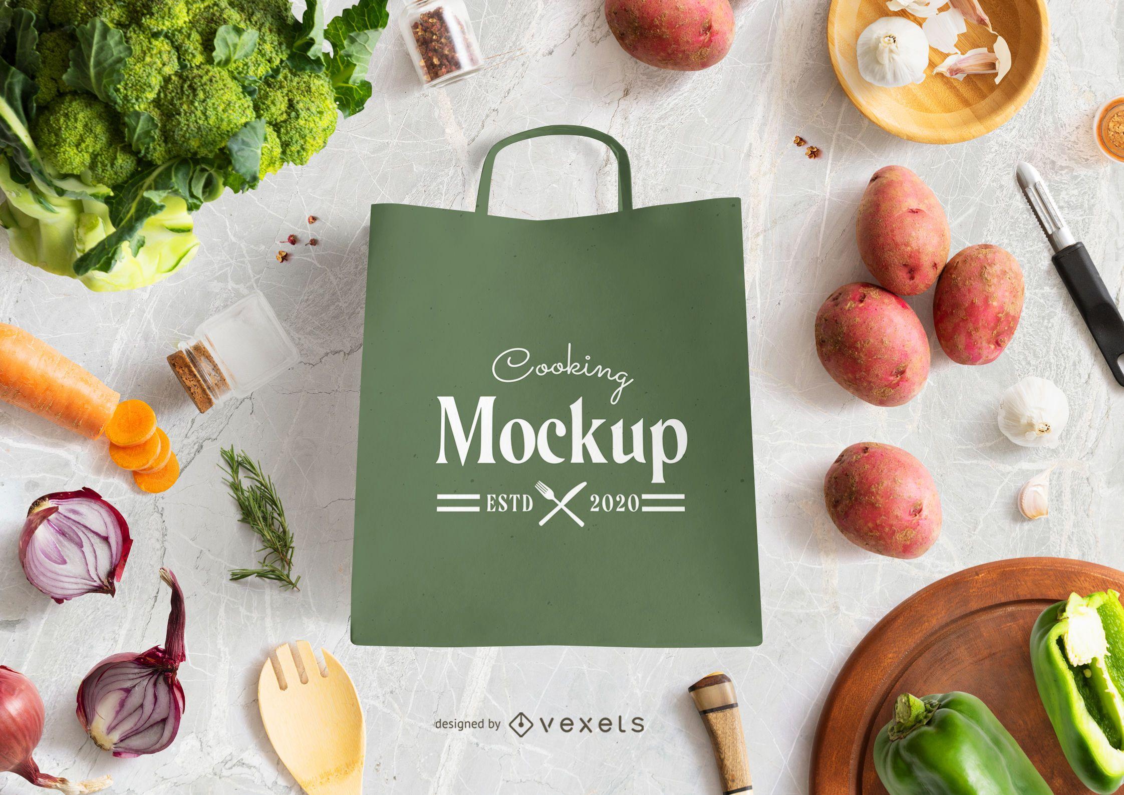 Shopping bag vegetables mockup
