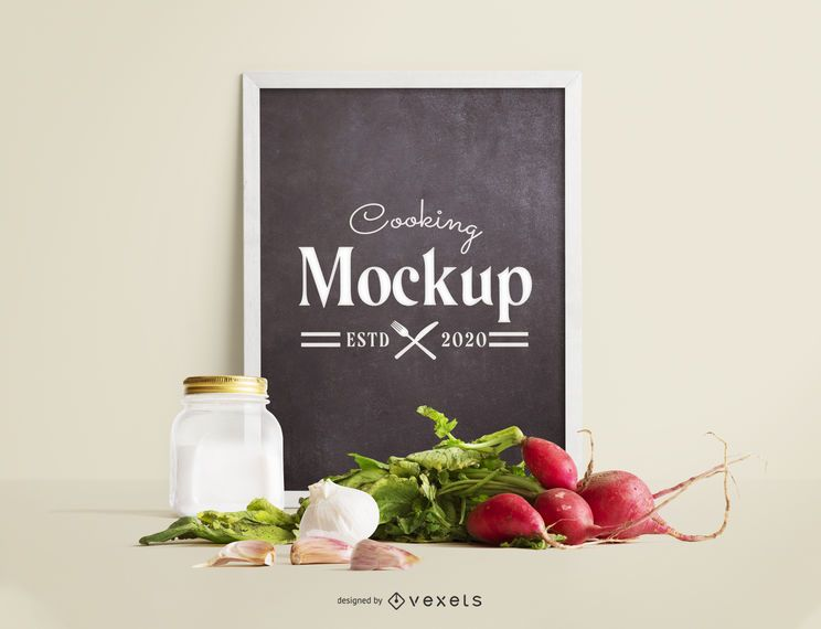 Blackboard veggies mockup composition