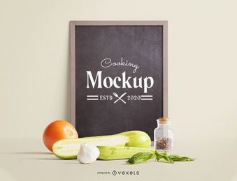 Blackboard vegetables mockup