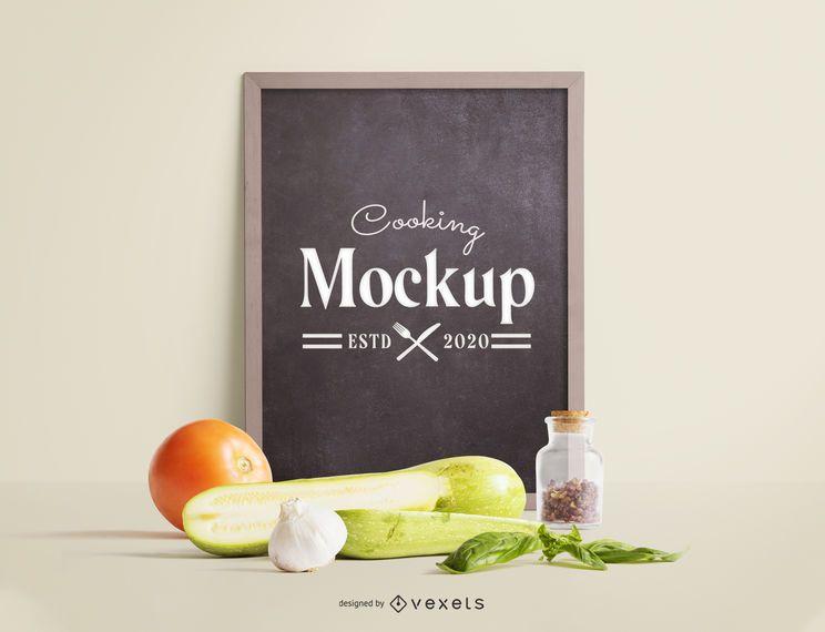Blackboard vegetables mockup