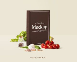 Book cover cooking mockup composition