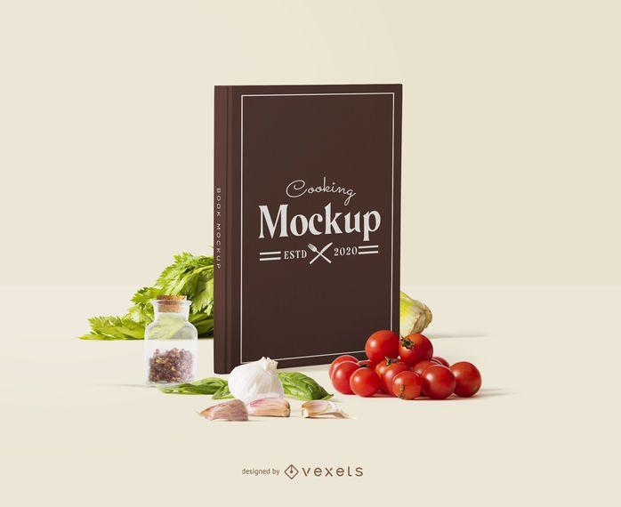 Composición de maqueta de cocina de portada de libro