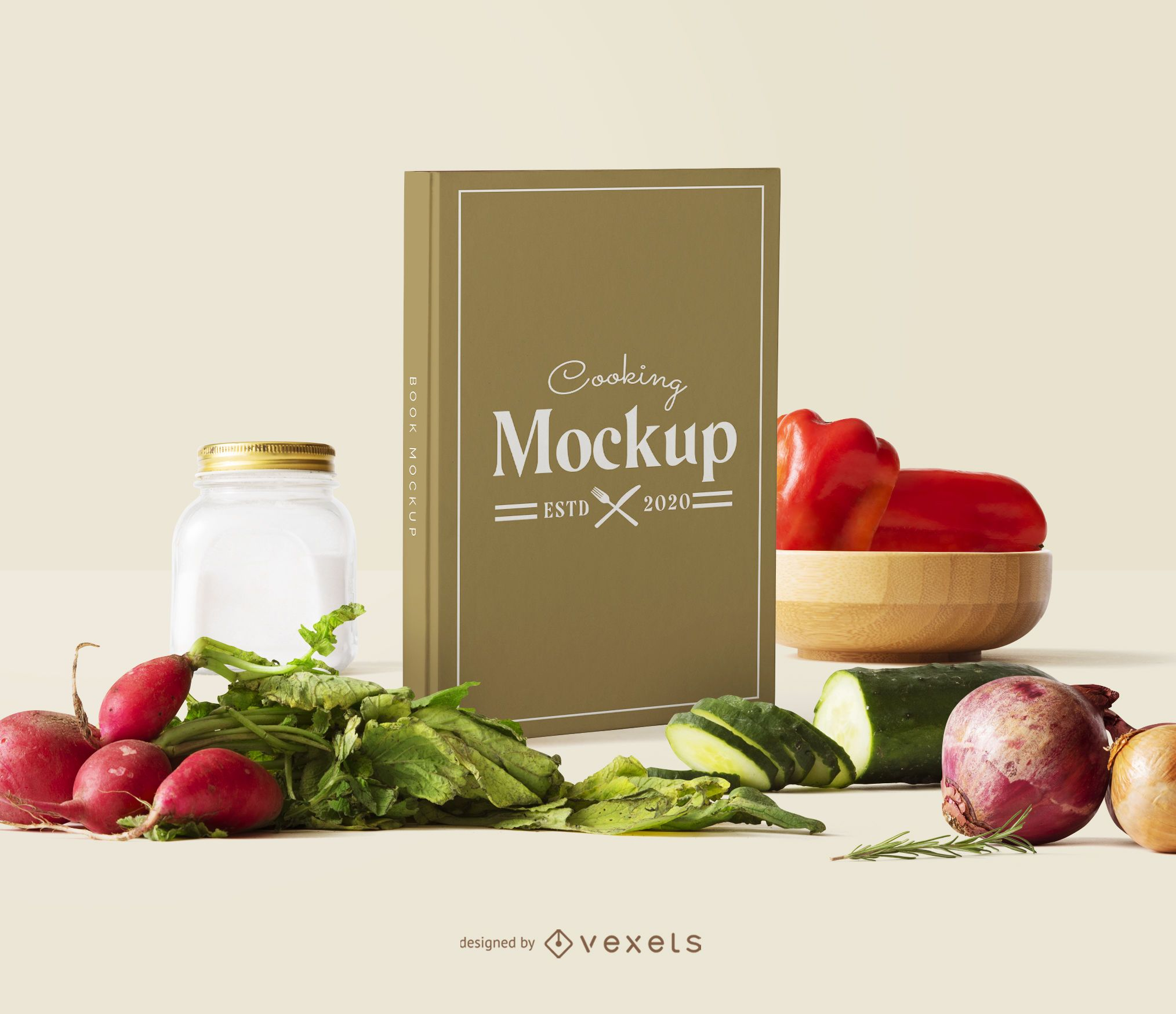Book cover veggies mockup composition