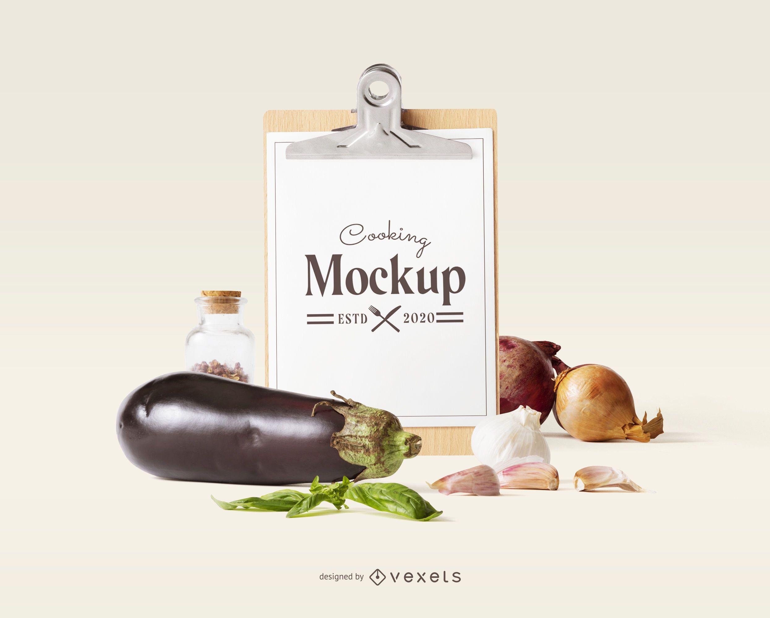 Clipboard veggies mockup composition