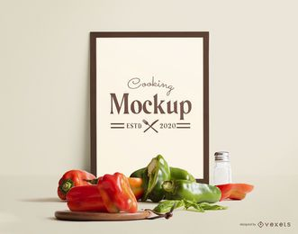 Frame mockup vegetables composition