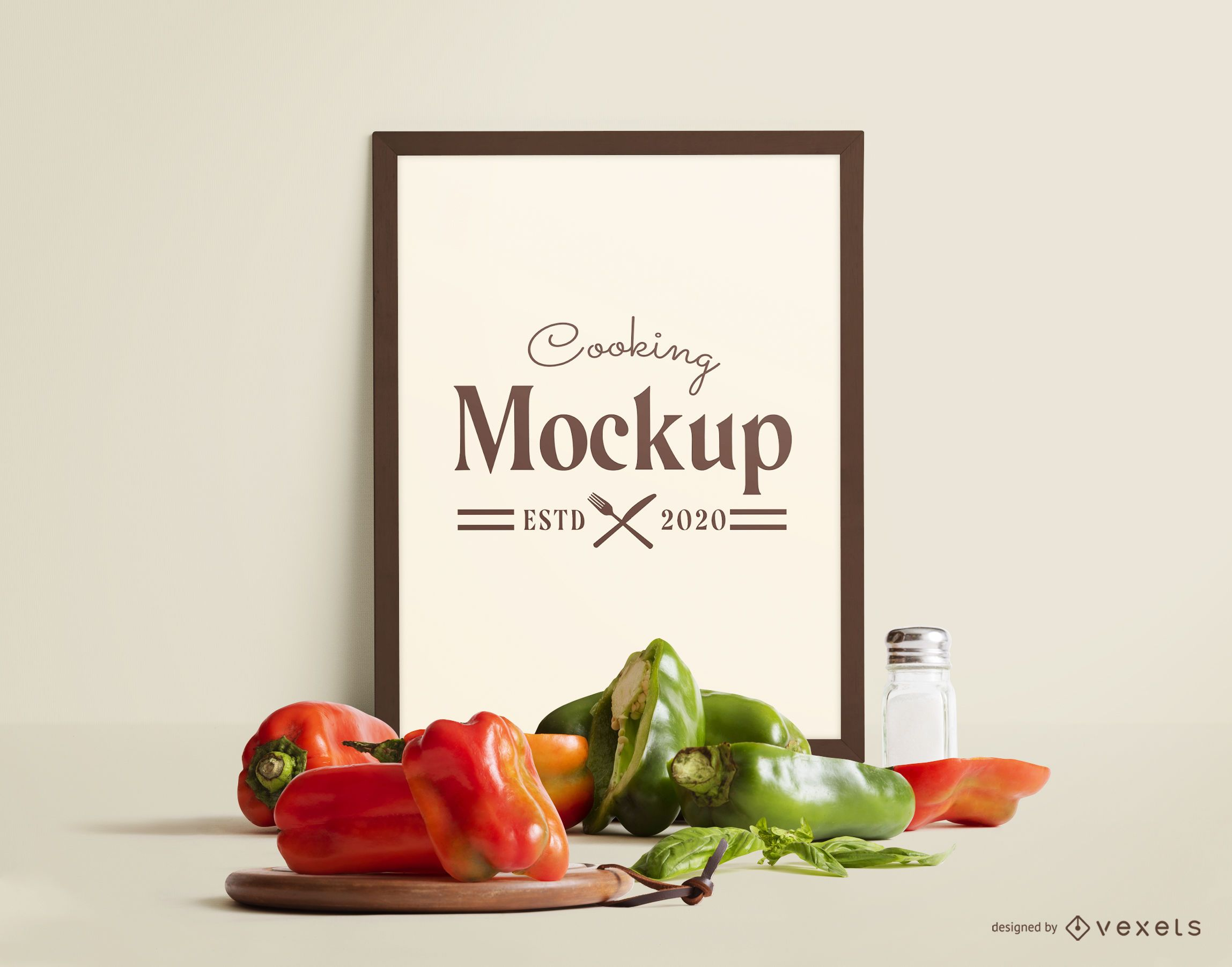 Frame mockup vegetables composition