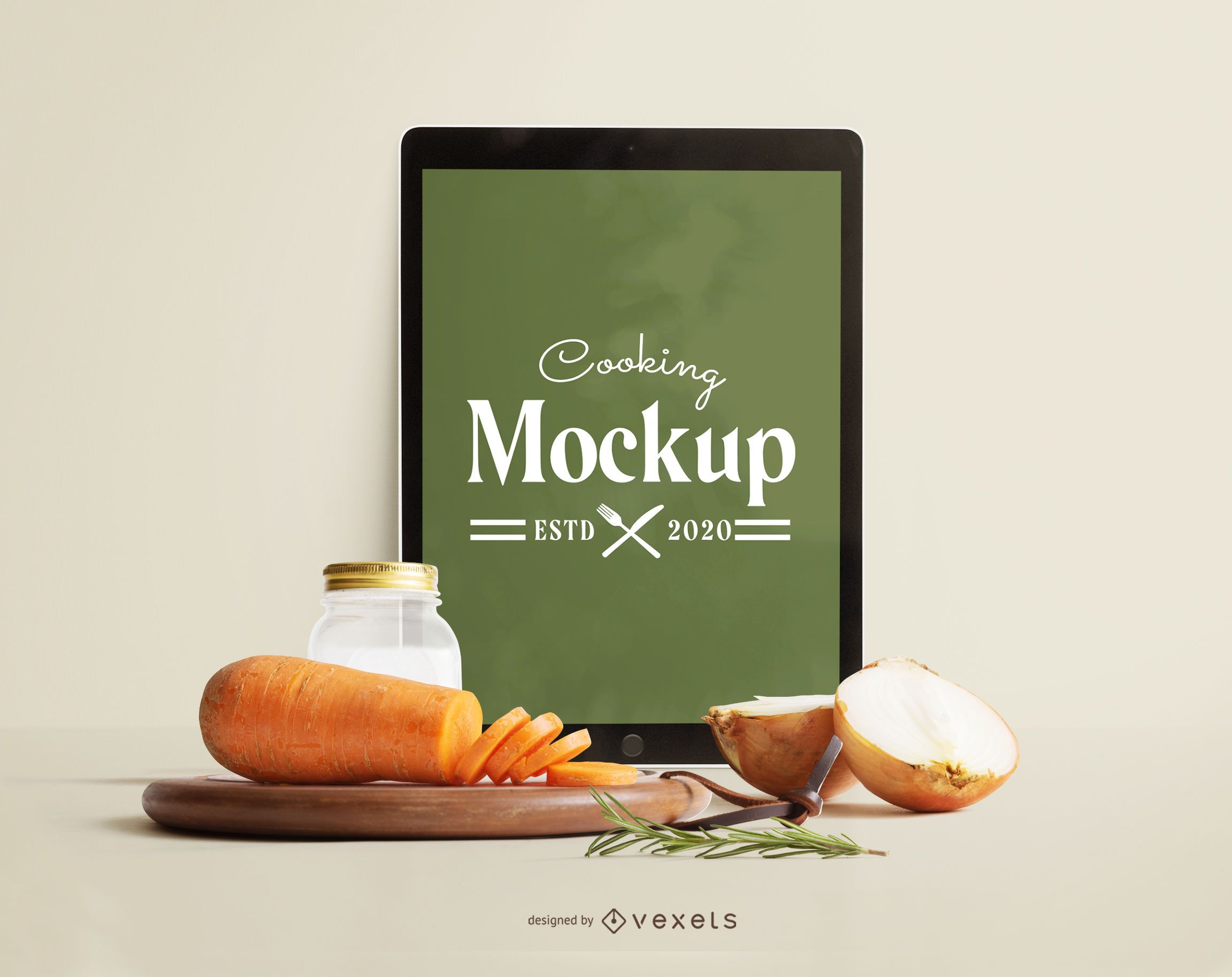 Ipad vegetables mockup composition