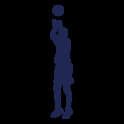 Silueta de pelota de tiro en salto de baloncesto