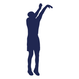 Silueta de tiro en salto de baloncesto