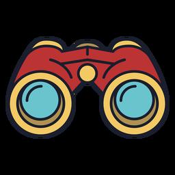 Binoculares icono colorido trazo