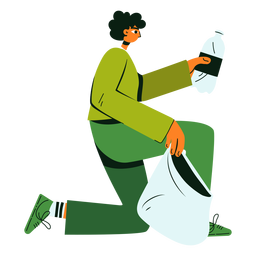 Ilustración de botella de personaje de limpieza