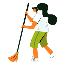 Cleaning character broom illustration
