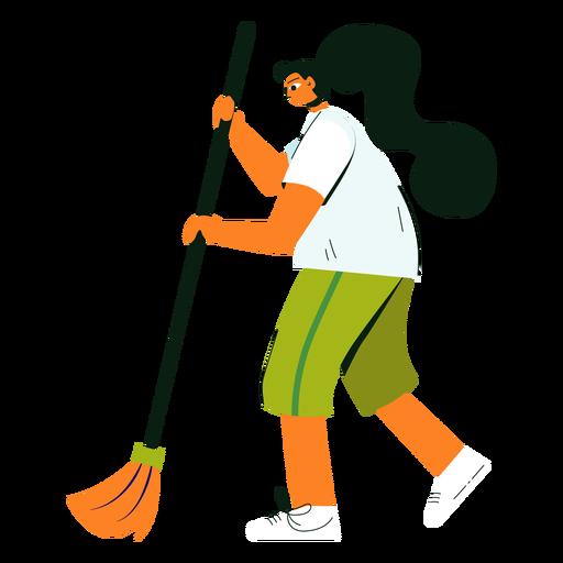 Ilustración de escoba de personaje de limpieza