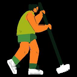 Ilustración de poste de personaje de limpieza
