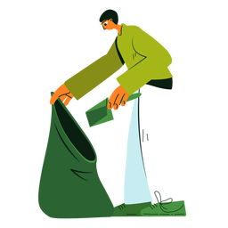 Cleaning character trash bag illustration