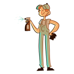 Cleaning spray worker illustration