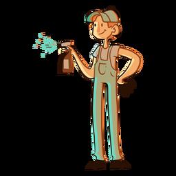 Ilustración de trabajador de spray de limpieza