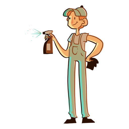 Cleaning spray worker illustration Transparent PNG