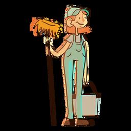 Ilustración de cubo de fregona de trabajador de limpieza