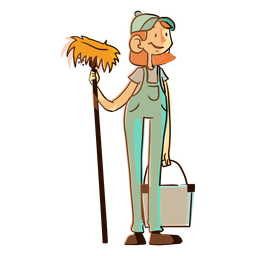 Ilustración de cubo de trapeador de trabajador de limpieza